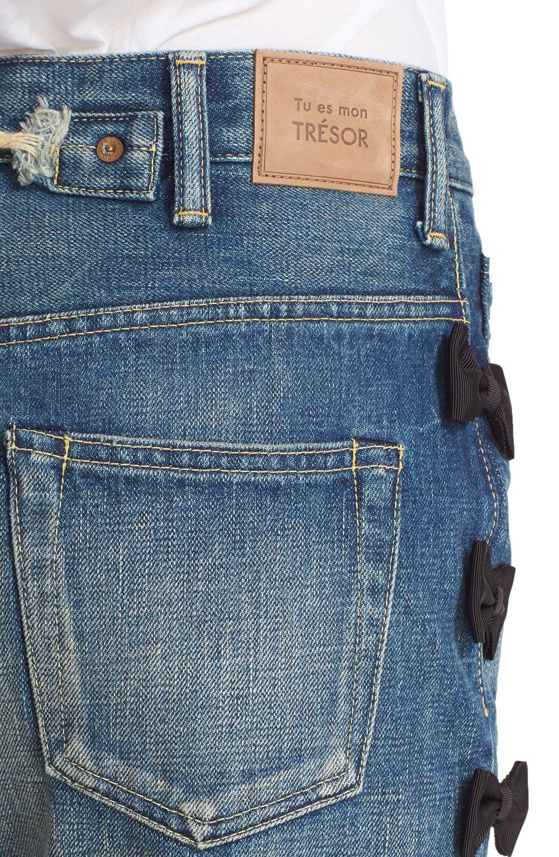 Alternate Image 6  - Tu es mon TRÉSOR Grosgrain Bow Embellished Jeans