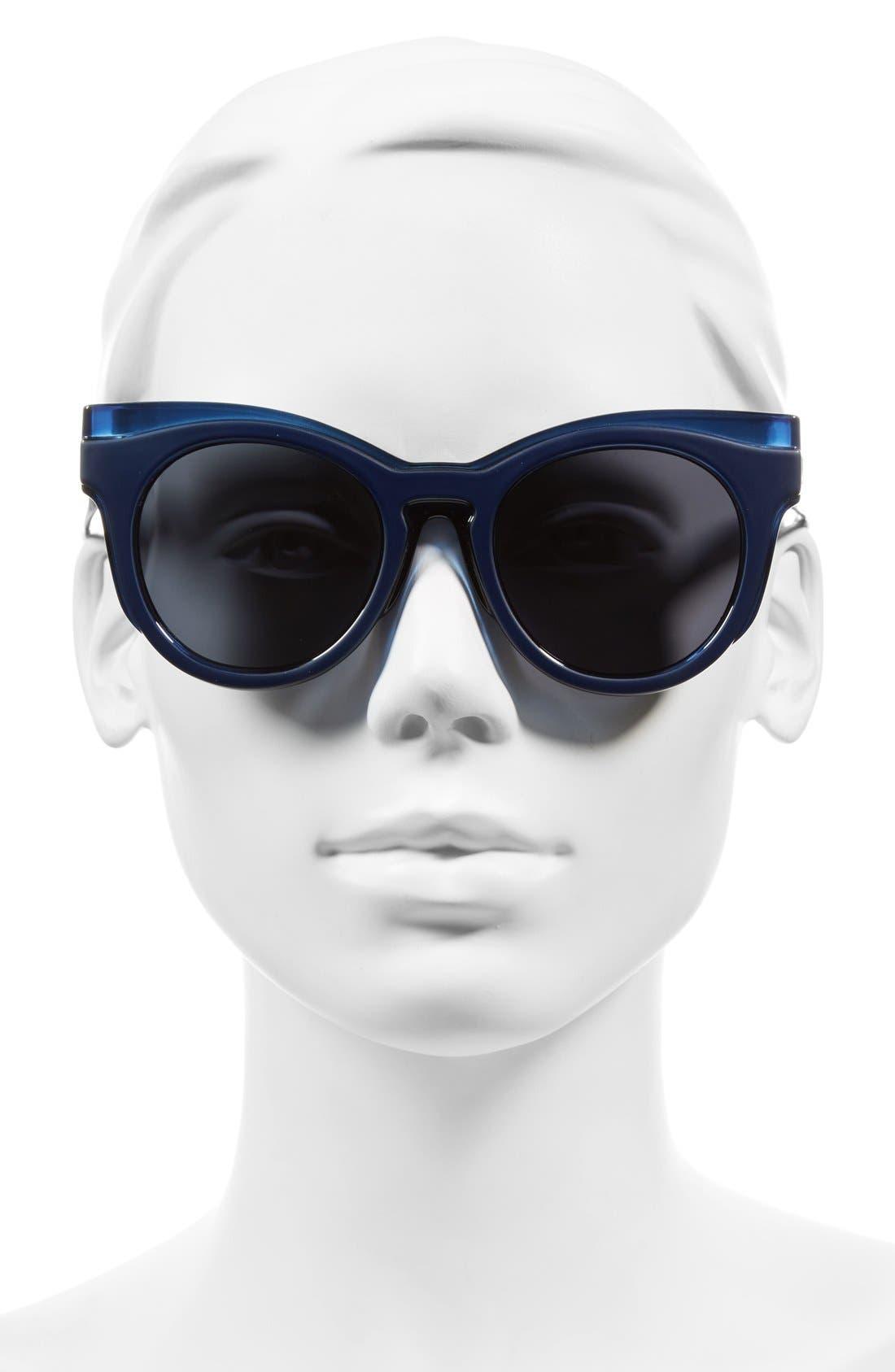 'Edition Three' 51mm Cat Eye Sunglasses,                             Alternate thumbnail 2, color,                             Matte Grey/ Matte Navy