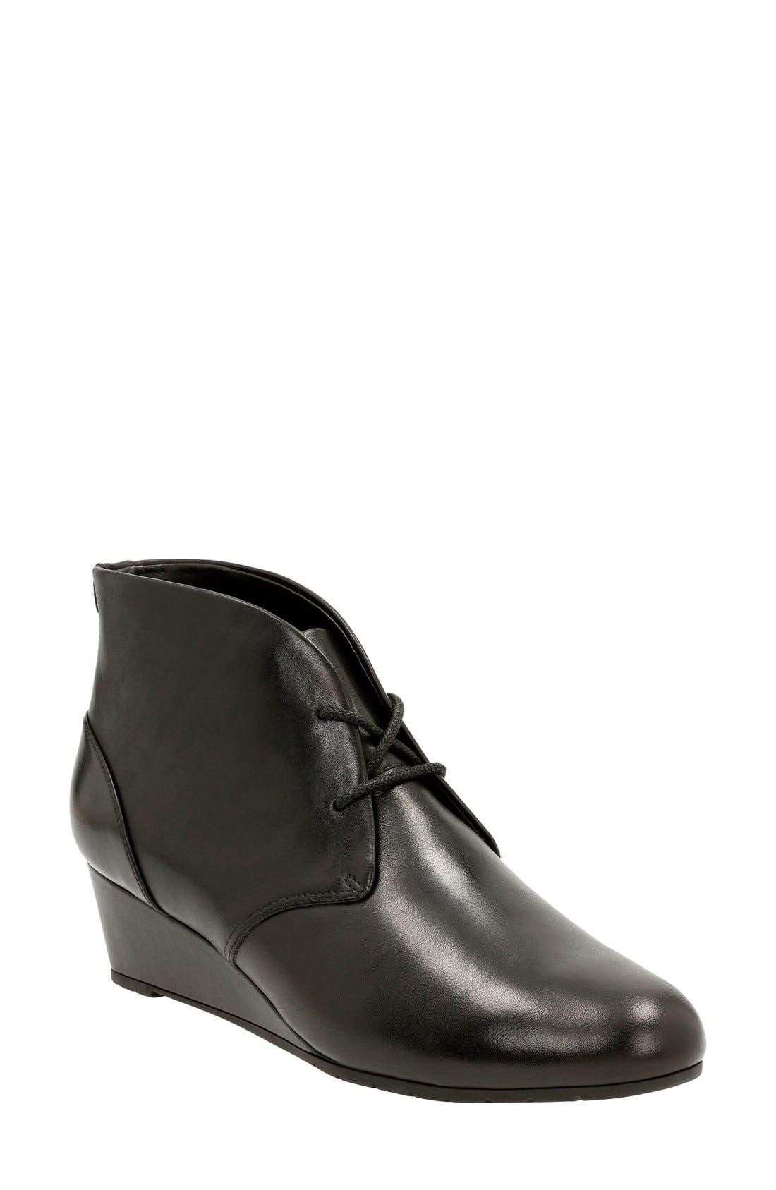 'Vendra Peak' Wedge Boot,                             Main thumbnail 1, color,                             Black Leather
