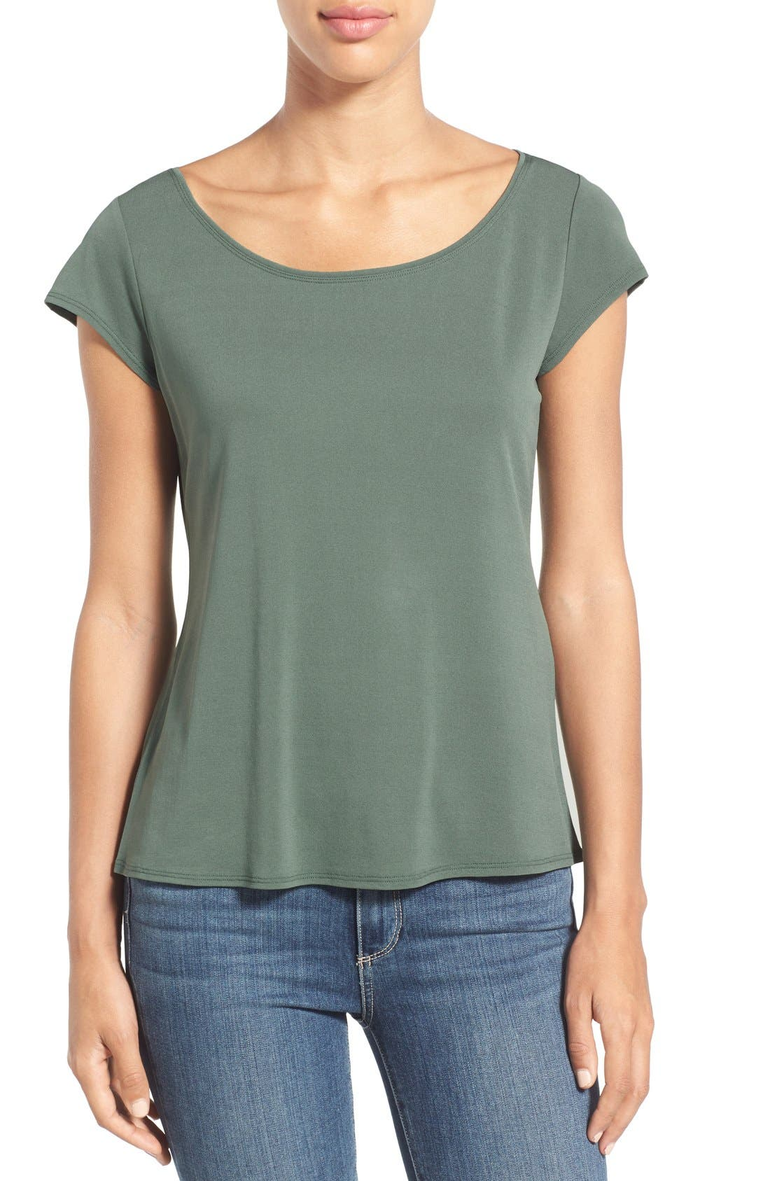 Main Image - Eileen Fisher Cap Sleeve Silk Tee (Regular & Petite)
