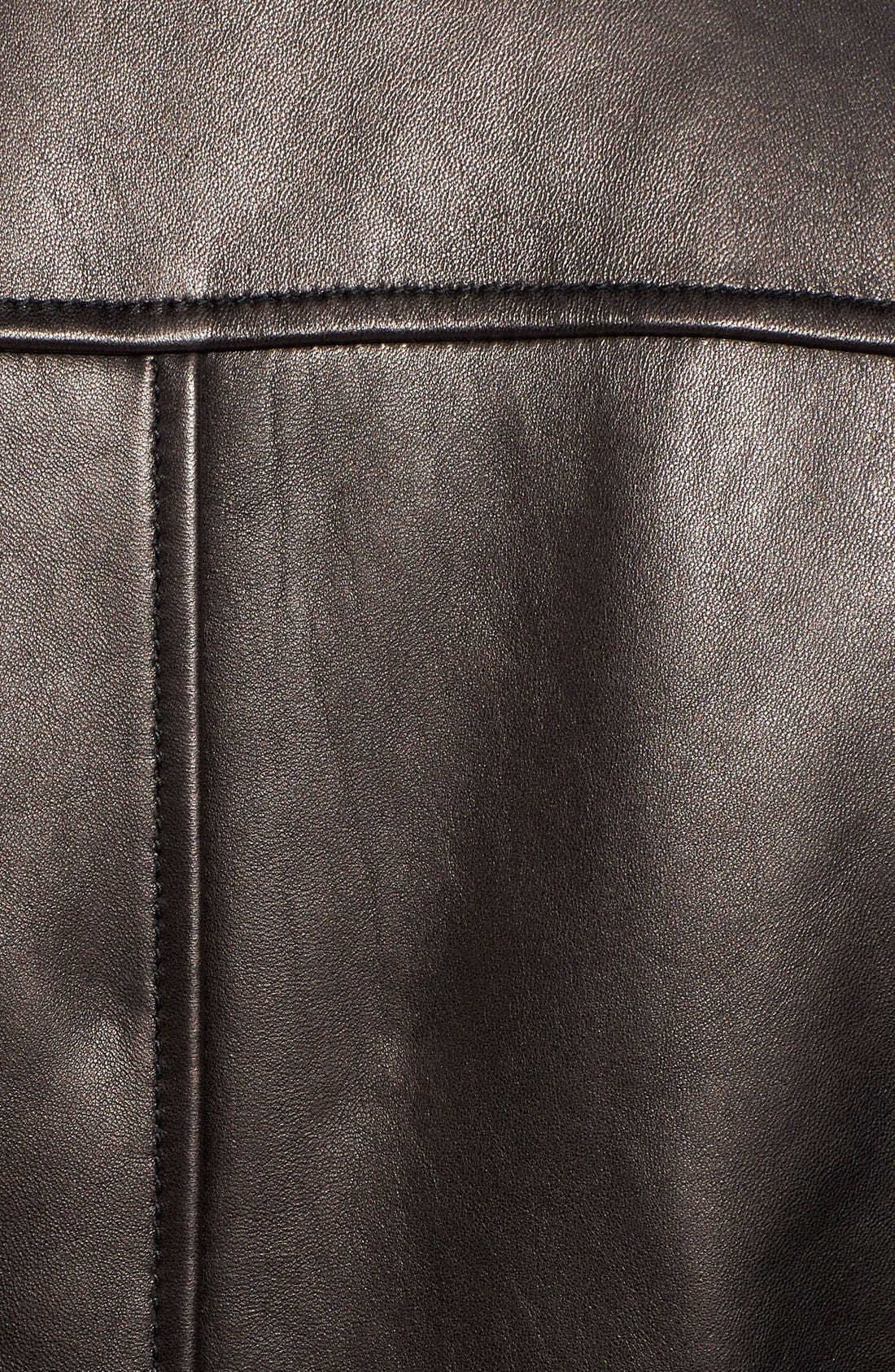 Lambskin Leather Moto Jacket,                             Alternate thumbnail 5, color,                             Black