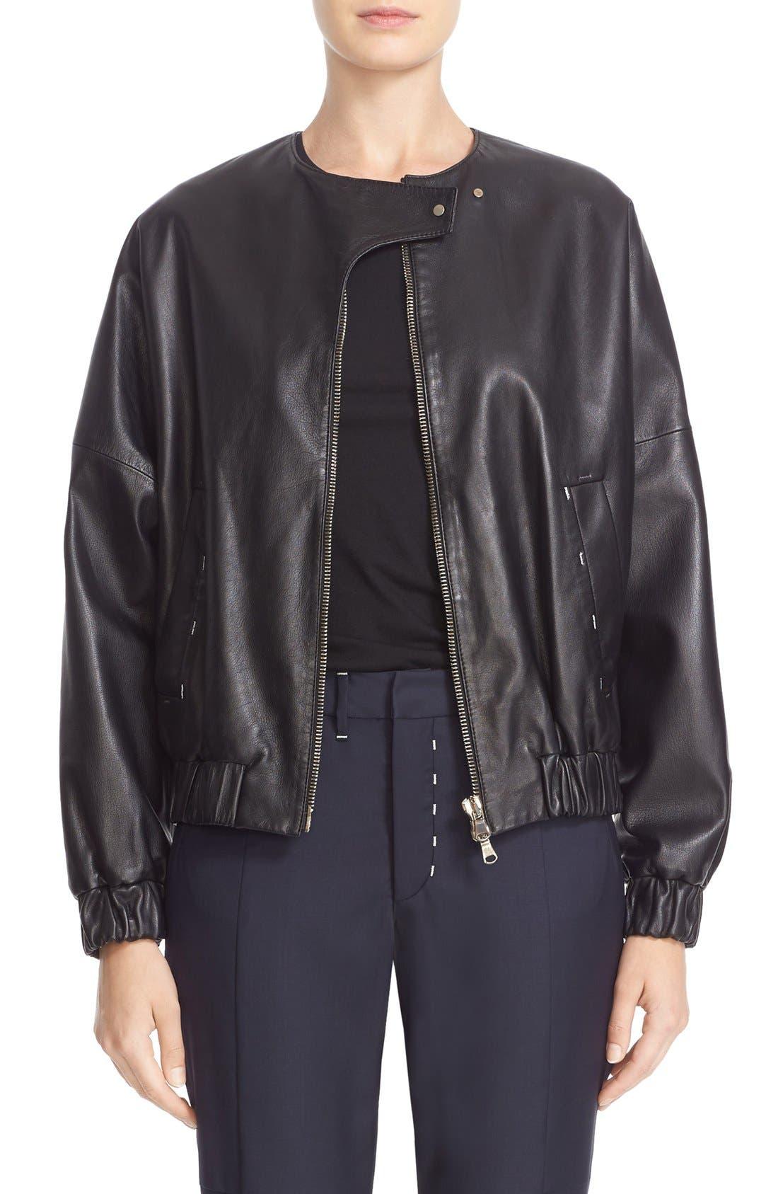 Leather Bomber Jacket,                         Main,                         color, Black