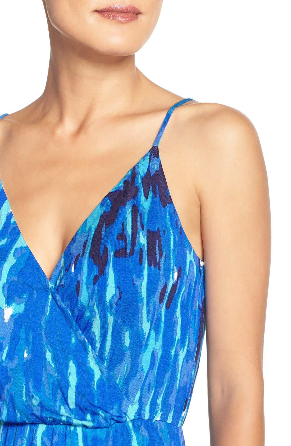 Jersey Faux Wrap Dress,                             Alternate thumbnail 6, color,                             Blue Print