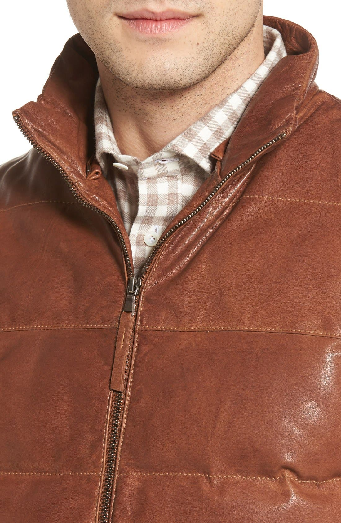 Quilted Leather Vest with Removable Genuine Shearling Collar,                             Alternate thumbnail 4, color,                             Cognac