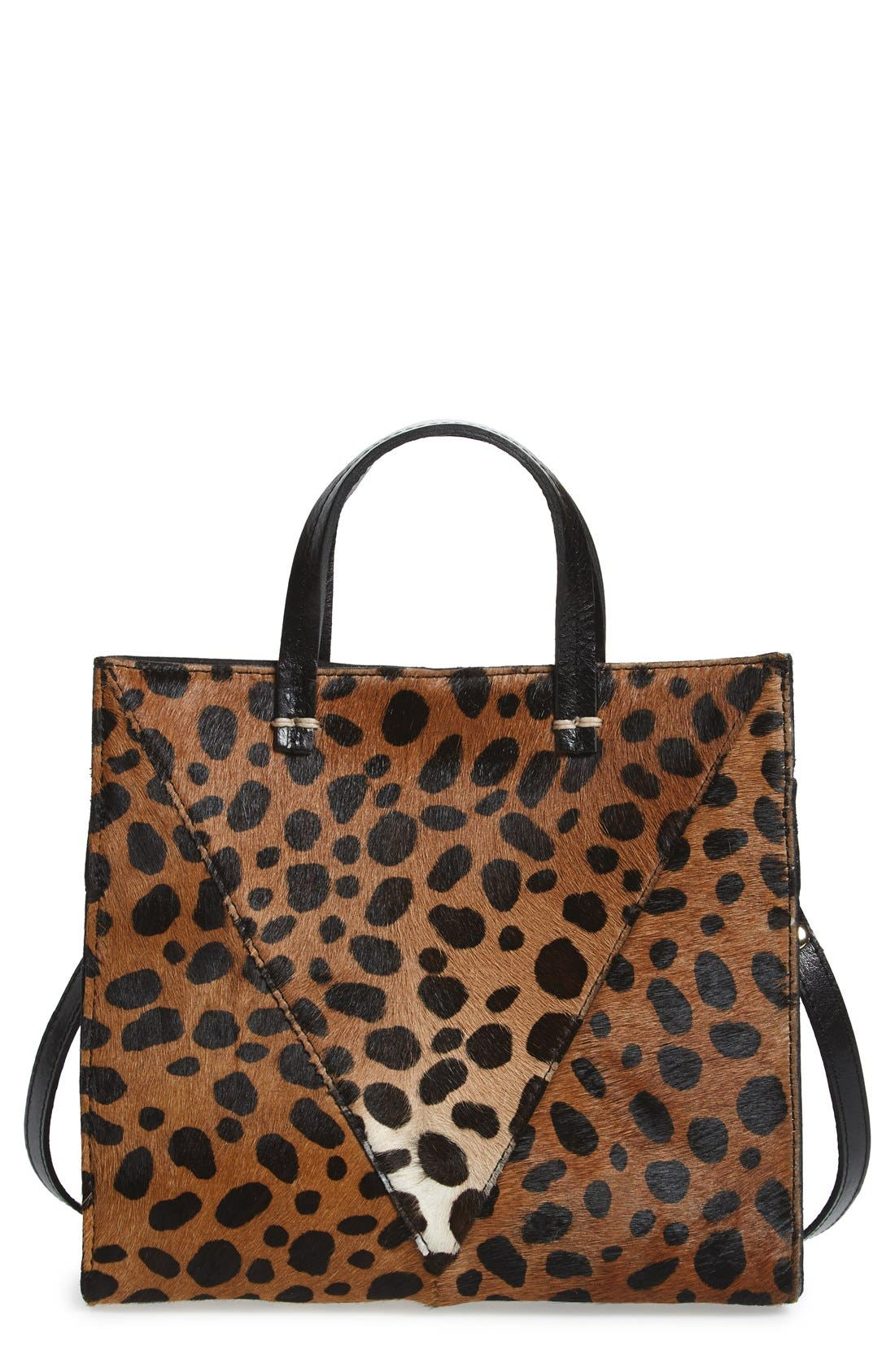 Main Image - Clare V. 'Petit Simple' Leopard Print Genuine Calf Hair Tote