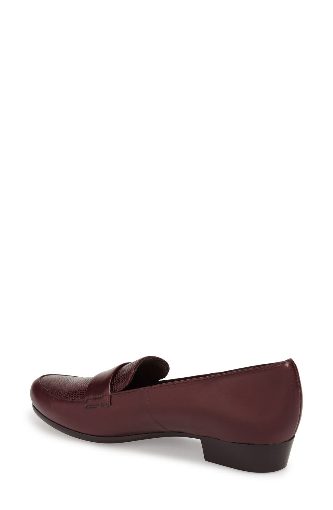 'Kiera' Loafer,                             Alternate thumbnail 2, color,                             Wine Lizard Print Leather
