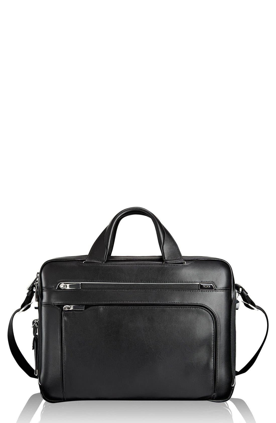 Arrivé - Sawyer Leather Briefcase,                             Main thumbnail 1, color,                             Black