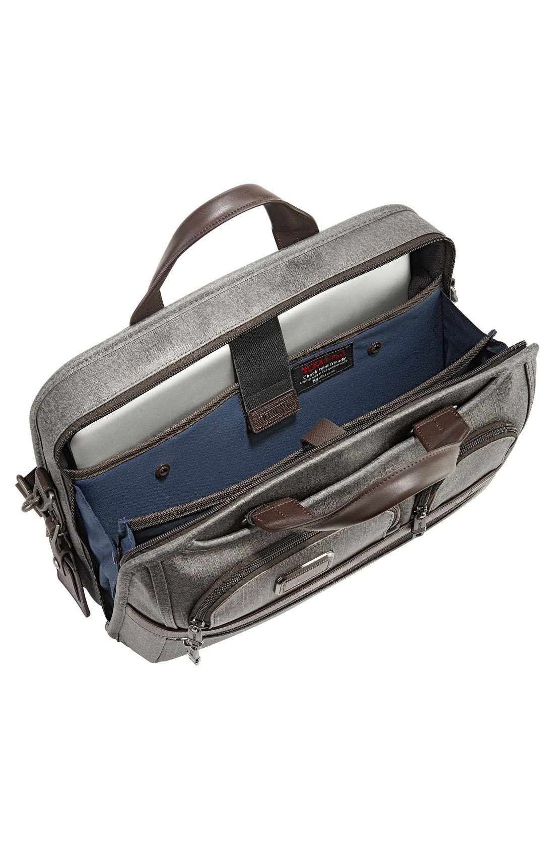 'Alpha 2' T-Pass<sup>®</sup> Coated Canvas Briefcase,                             Alternate thumbnail 4, color,                             Earl Grey