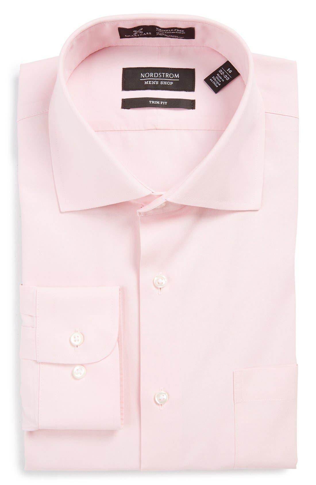 Smartcare<sup>™</sup> Trim Fit Solid Dress Shirt,                             Main thumbnail 1, color,                             Pink Snow