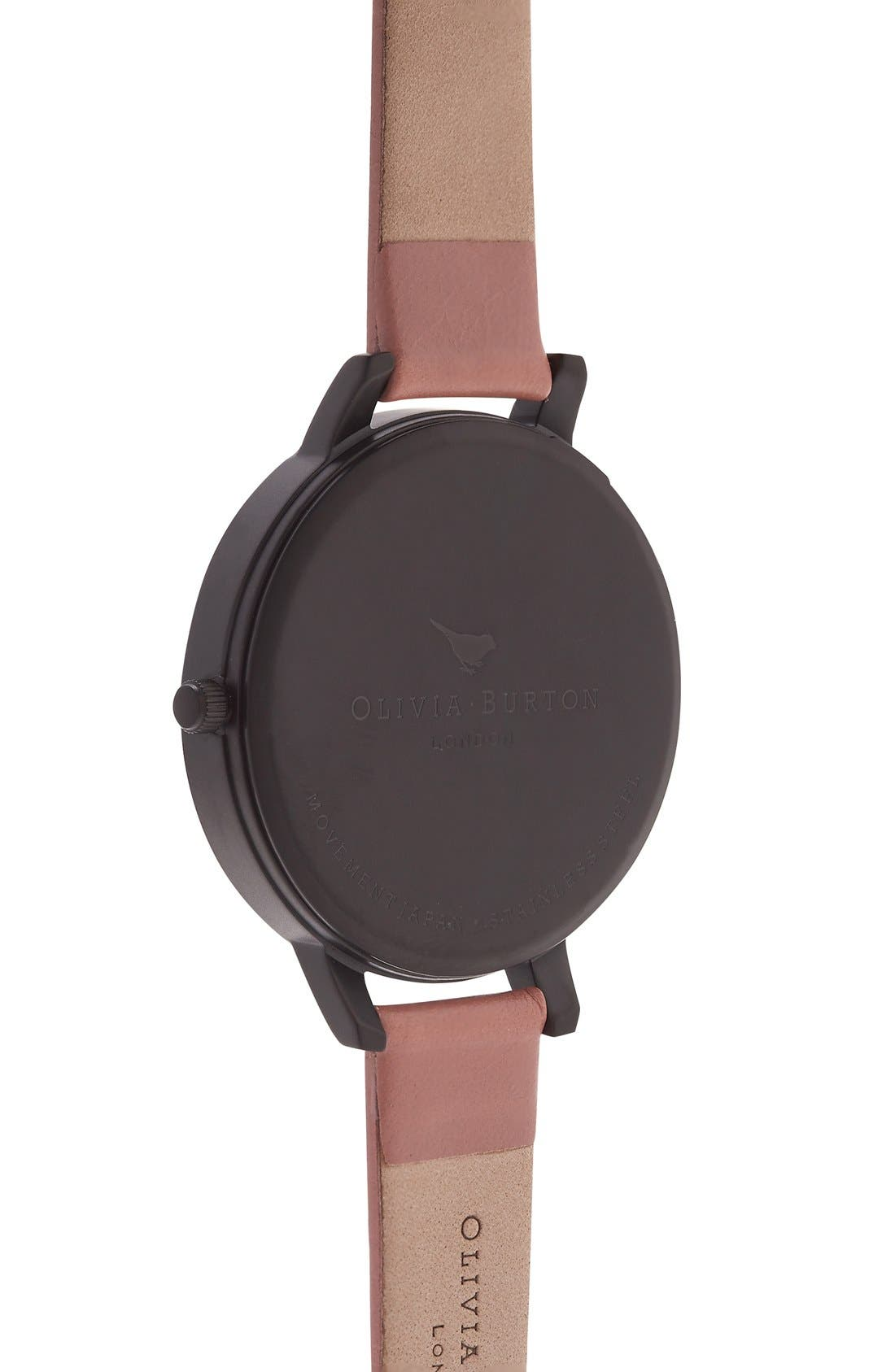 'After Dark' Leather Strap Watch, 38mm,                             Alternate thumbnail 2, color,                             Rose/ Black