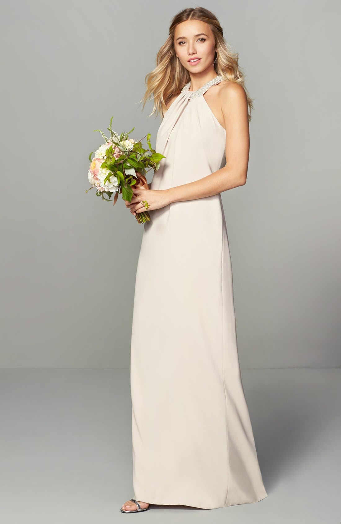 Alternate Image 2  - Dessy Collection Beaded Halter Neck Crepe Gown