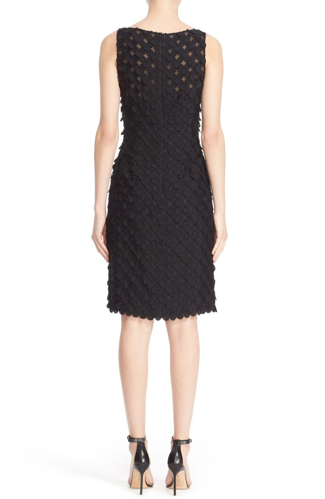 Circle Appliqué Sleeveless Sheath Dress,                             Alternate thumbnail 2, color,                             Black