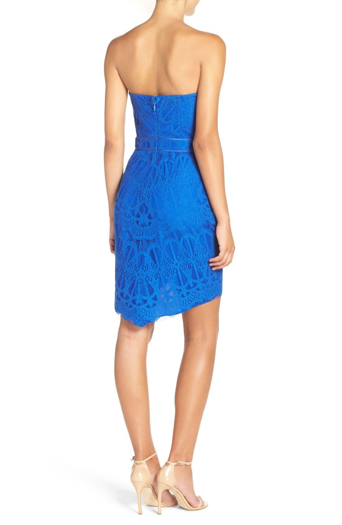 Strapless Lace Dress,                             Alternate thumbnail 2, color,                             Cobalt