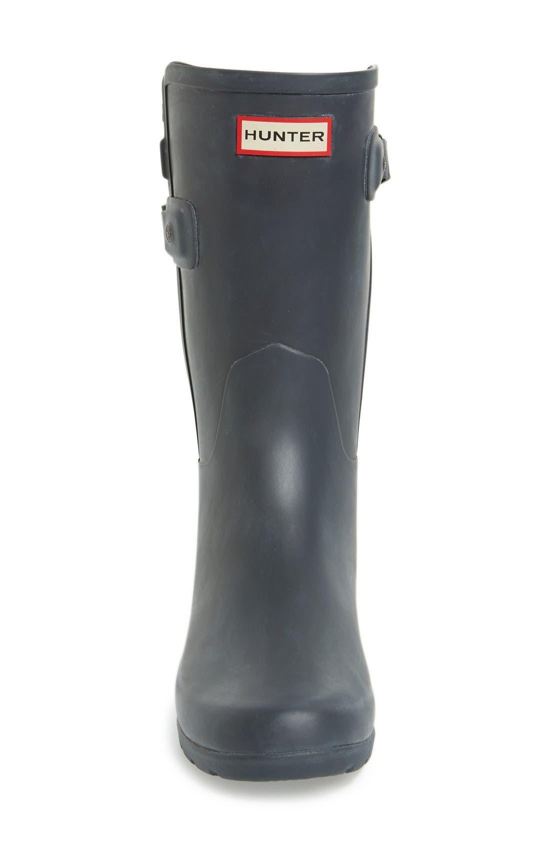 'Original Refined' Short Rain Boot,                             Alternate thumbnail 3, color,                             Dark Slate/ Black