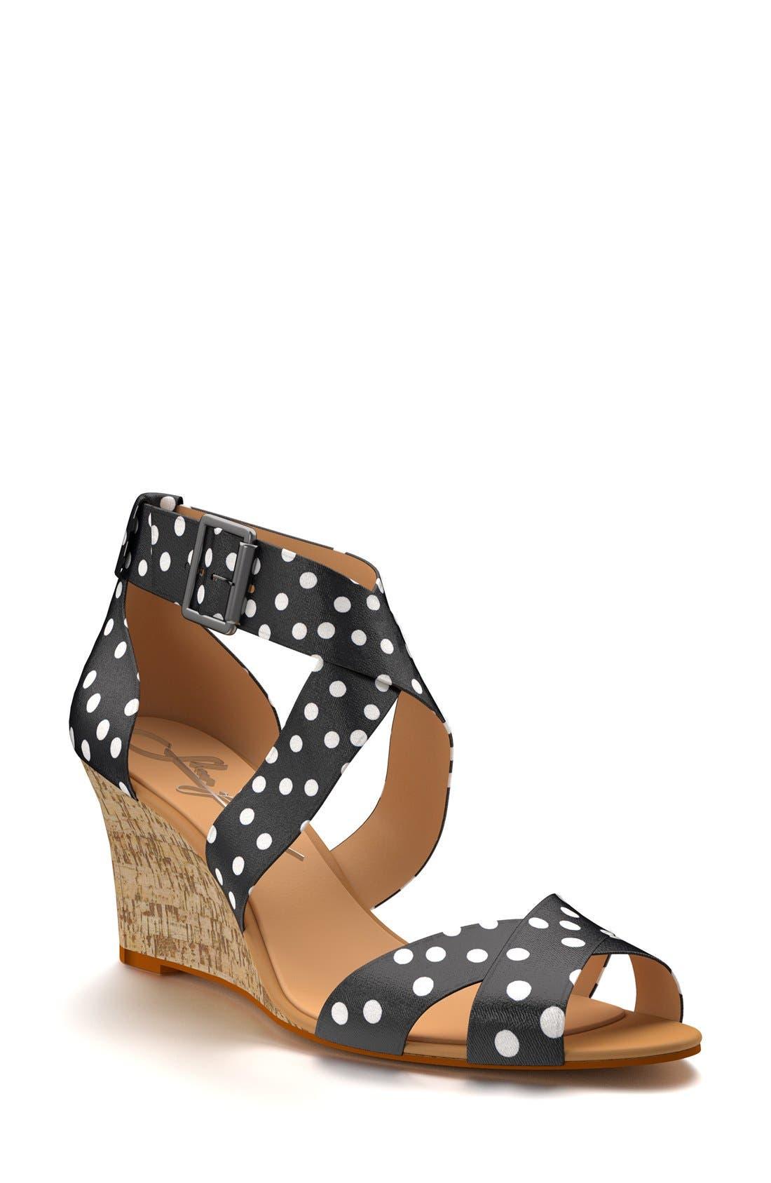 Main Image - Shoes of Prey Crisscross Strap Wedge Sandal (Women)