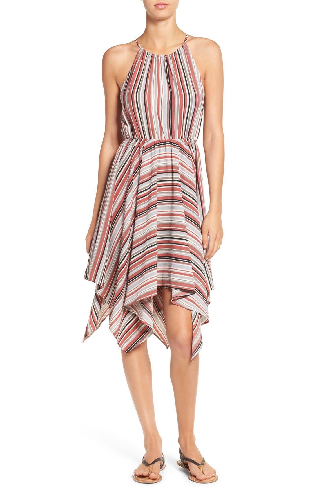 Main Image - Soprano Stripe Handkerchief Hem Halter Dress