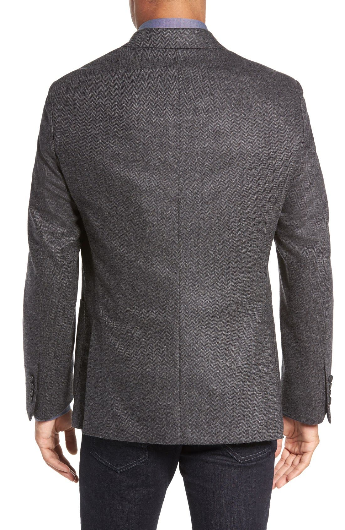 Beckett Classic Fit Herringbone Cashmere Sport Coat,                             Alternate thumbnail 2, color,                             Charcoal