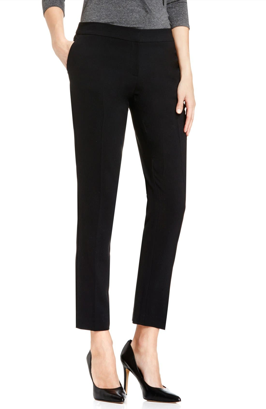 Textured Skinny Ankle Pants,                             Main thumbnail 1, color,                             Rich Black