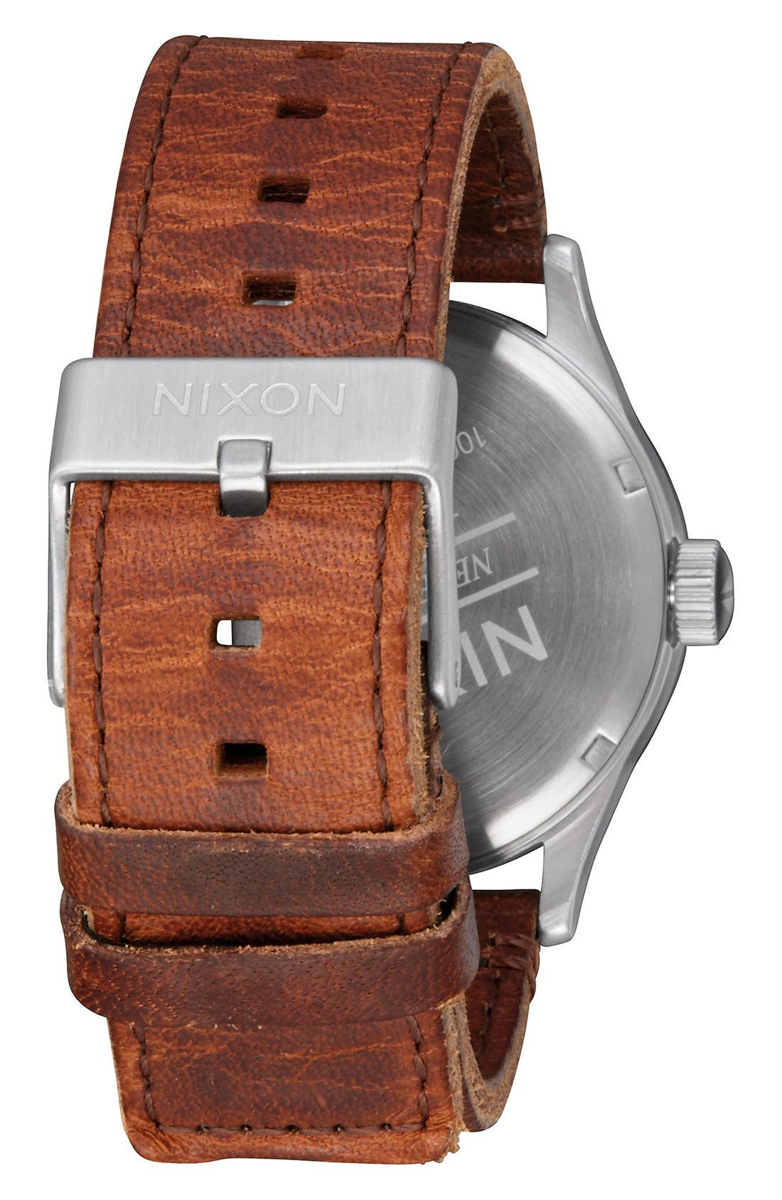 'The Sentry' Leather Strap Watch, 42mm,                             Alternate thumbnail 2, color,                             Brown/ Green