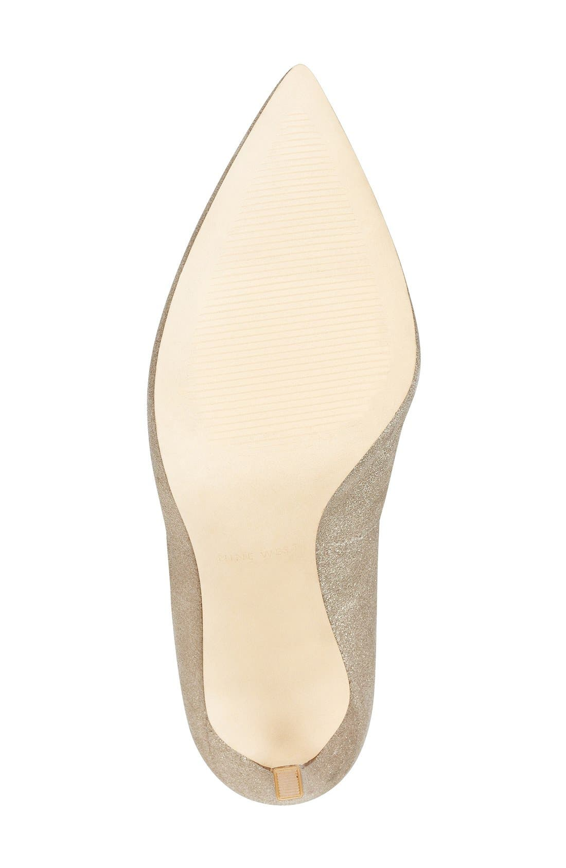 'Tatiana' Pump,                             Alternate thumbnail 4, color,                             Natural/ Gold Metallic Suede