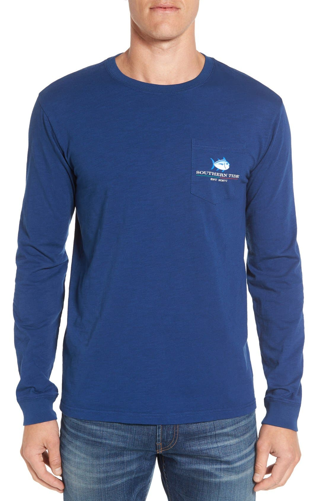 'Channel Marker' Graphic Pocket Long Sleeve T-Shirt,                             Alternate thumbnail 3, color,                             Yacht Blue