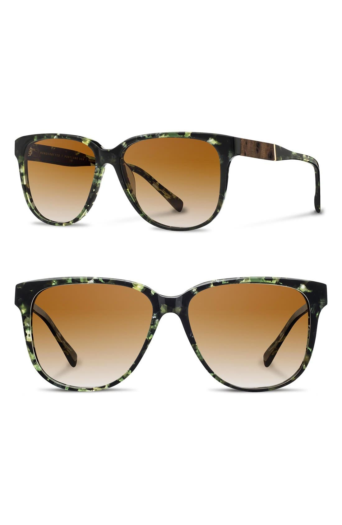 'McKenzie' 57mm Retro Sunglasses,                             Main thumbnail 1, color,                             Darkforest/ Elm/ Brown