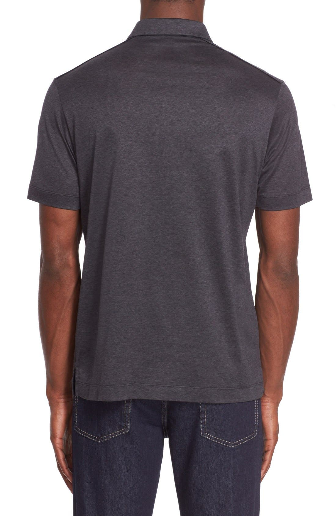 Heathered Mercerized Jersey Polo,                             Alternate thumbnail 2, color,                             Charcoal