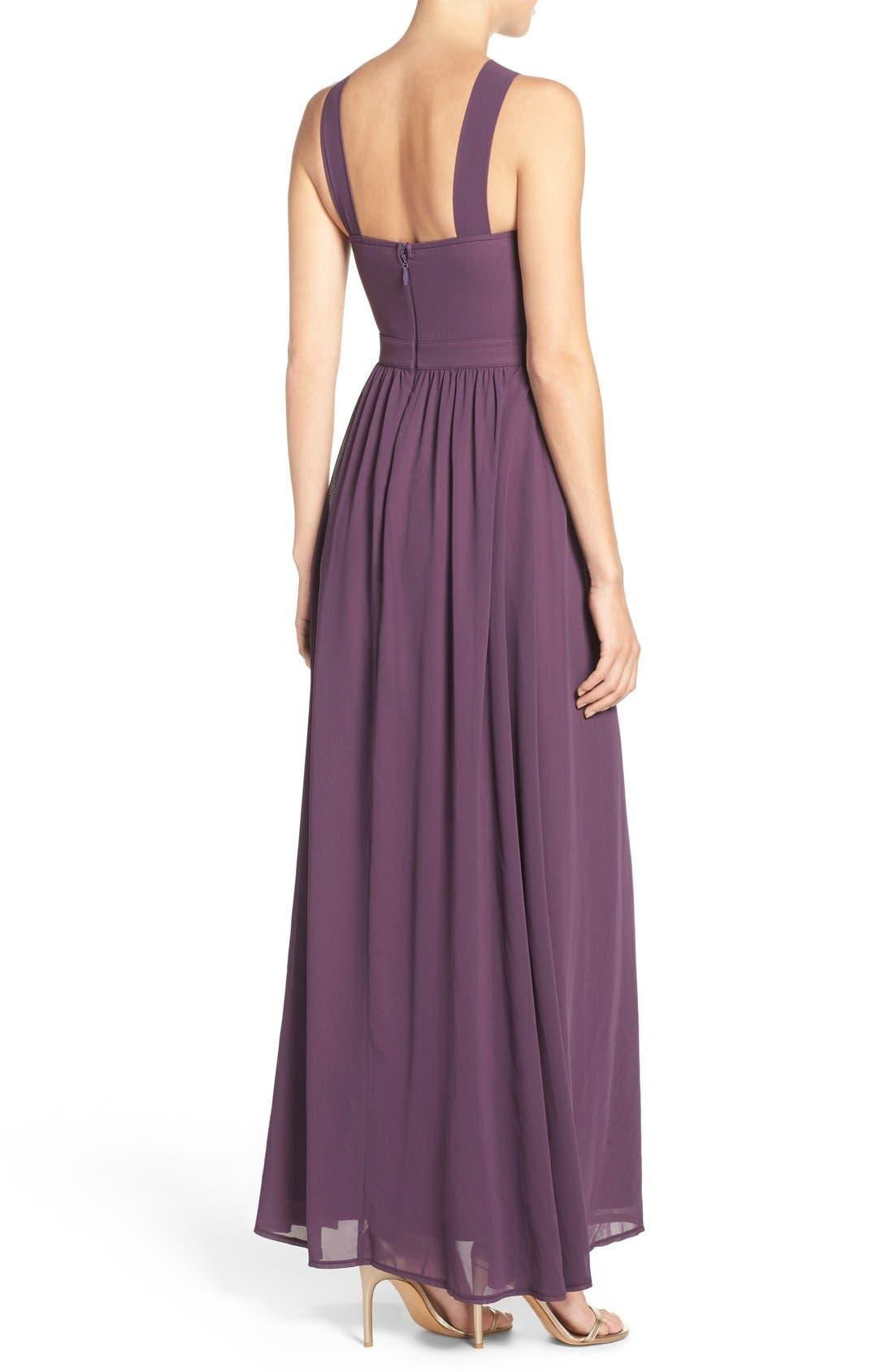 Cross Neck A-Line Chiffon Gown,                             Alternate thumbnail 2, color,                             Dusty Purple
