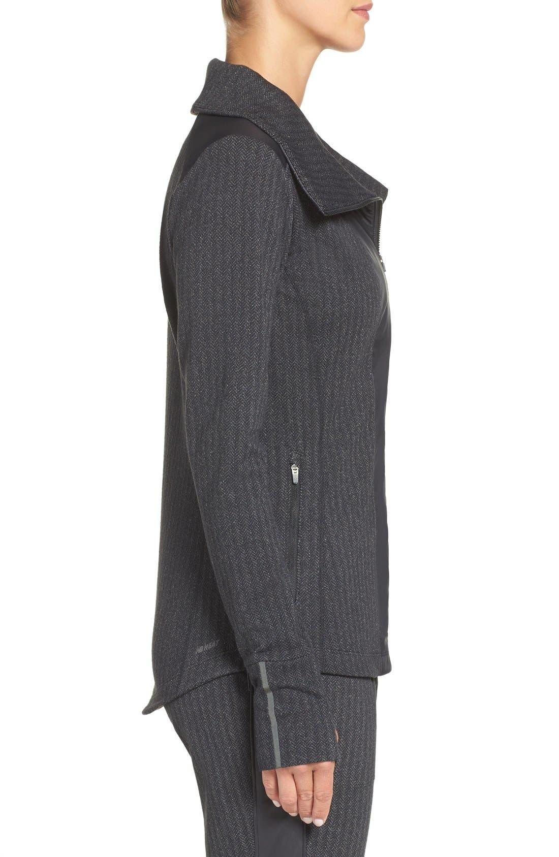 'Heat' Mock Neck Jacket,                             Alternate thumbnail 3, color,                             Black