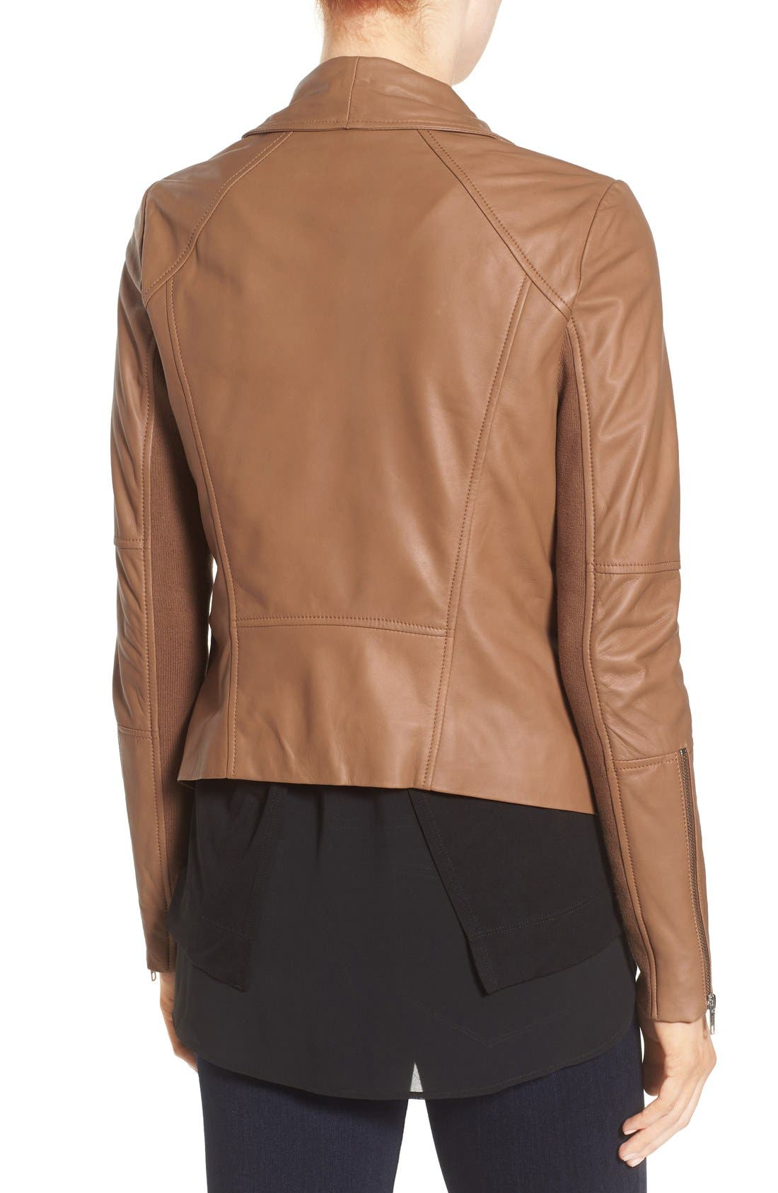 Drape Front Leather Jacket,                             Alternate thumbnail 2, color,                             Brown Saddle