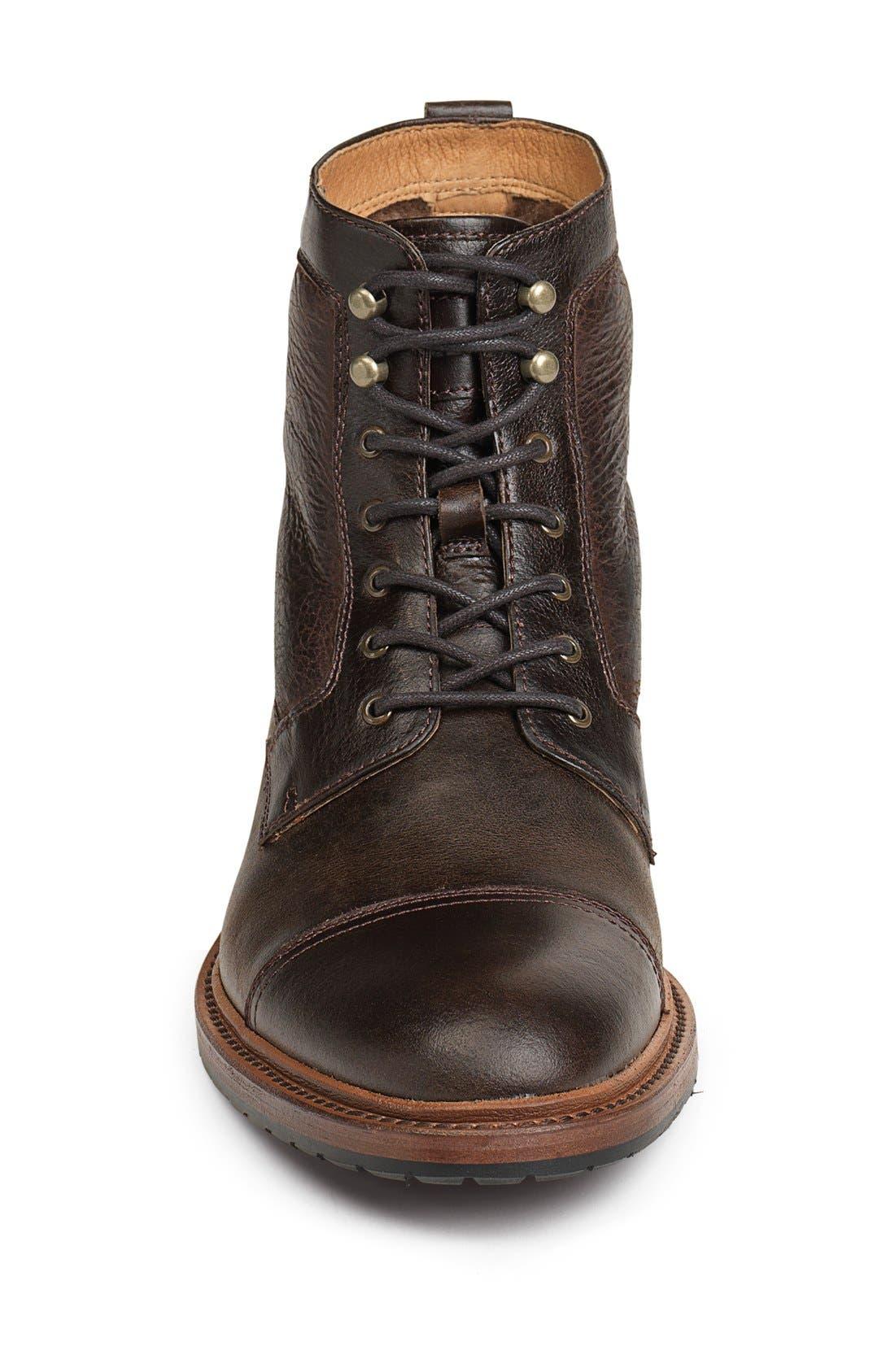 'Lowell' Cap Toe Boot,                             Alternate thumbnail 3, color,                             Dark Brown
