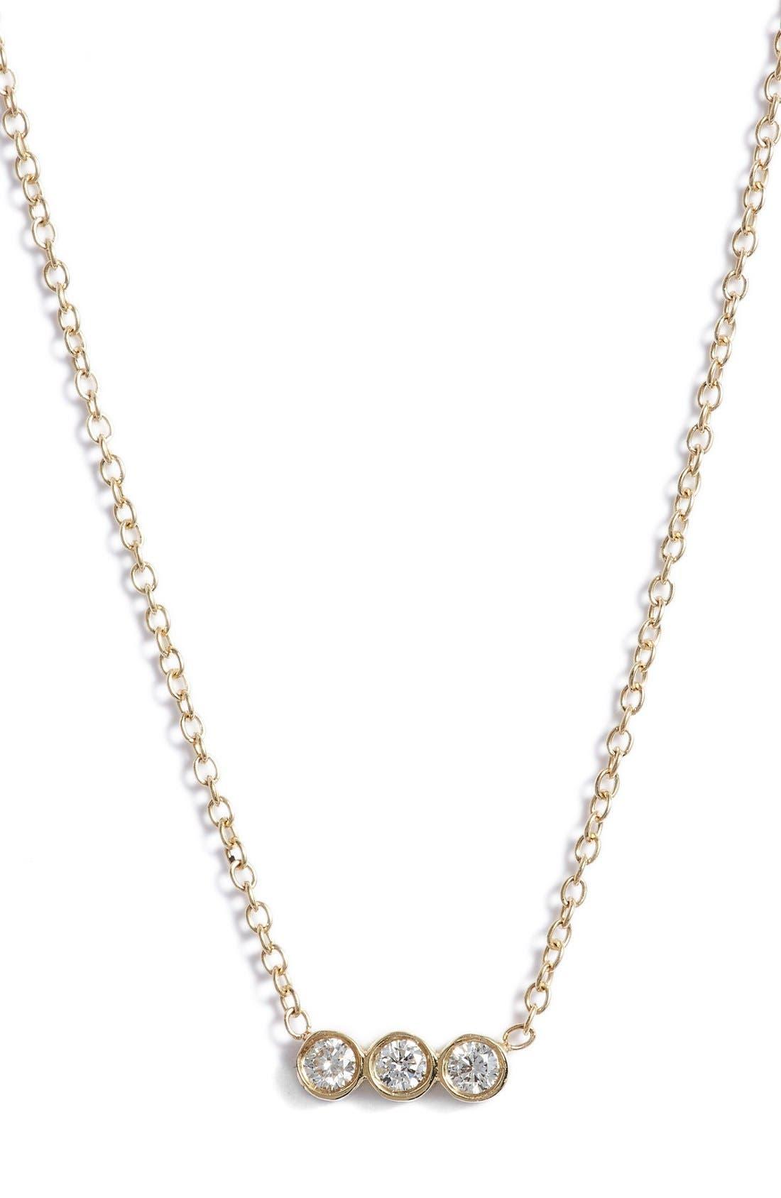 Alternate Image 1 Selected - Zoë Chicco Diamond Bezel Pendant Necklace