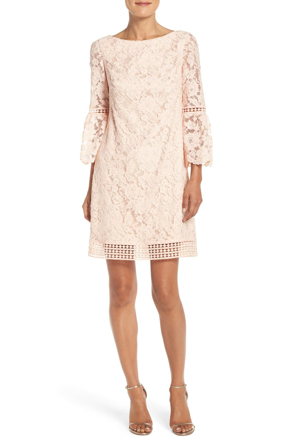 Main Image - Eliza J Bell Sleeve Lace Shift Dress (Regular & Petite)