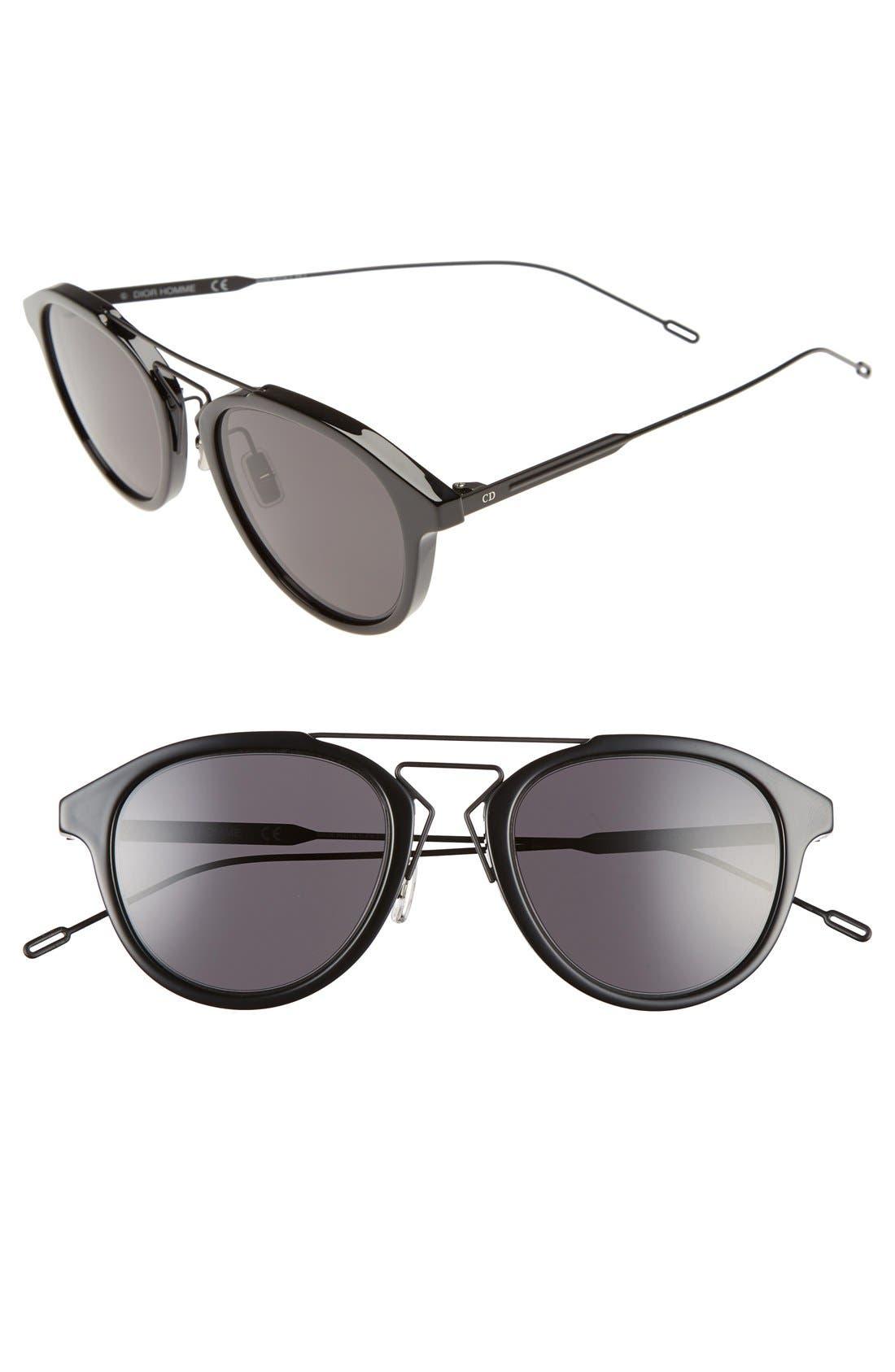 'Black Tie' 51mm Sunglasses,                             Main thumbnail 1, color,                             Black