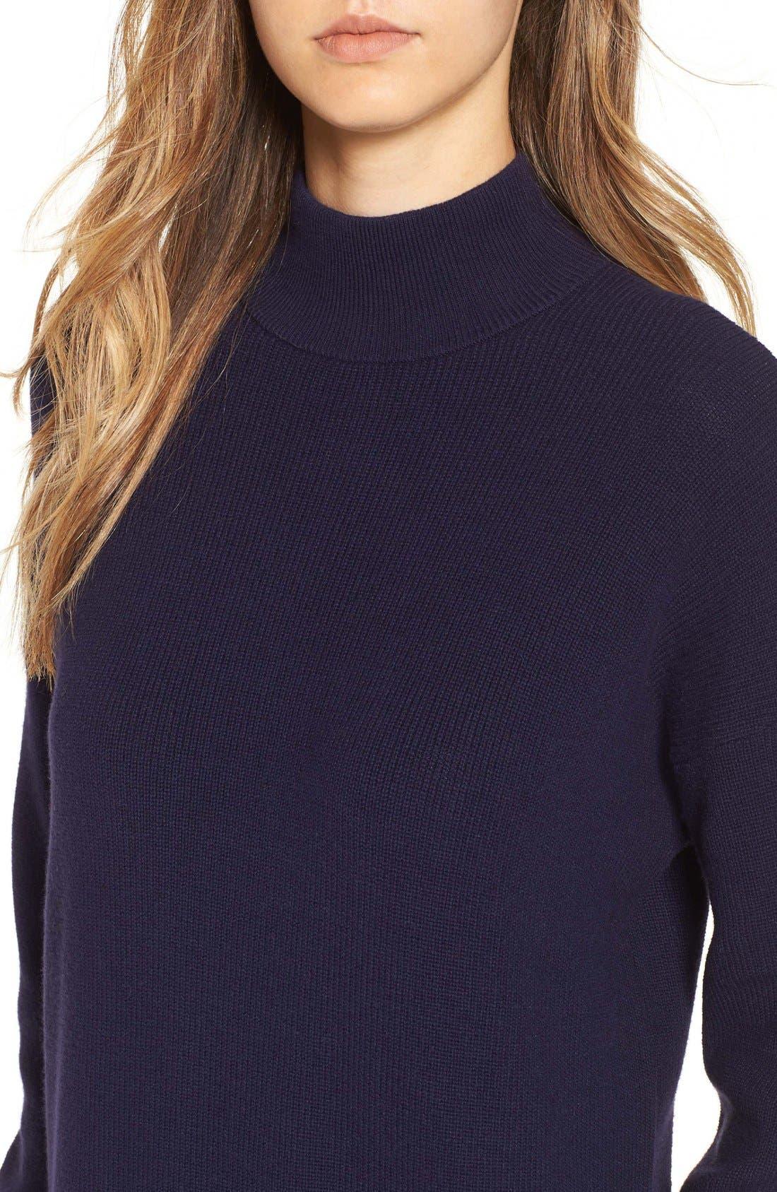 Mock Neck Knit Sweater Dress,                             Alternate thumbnail 4, color,                             Navy Evening