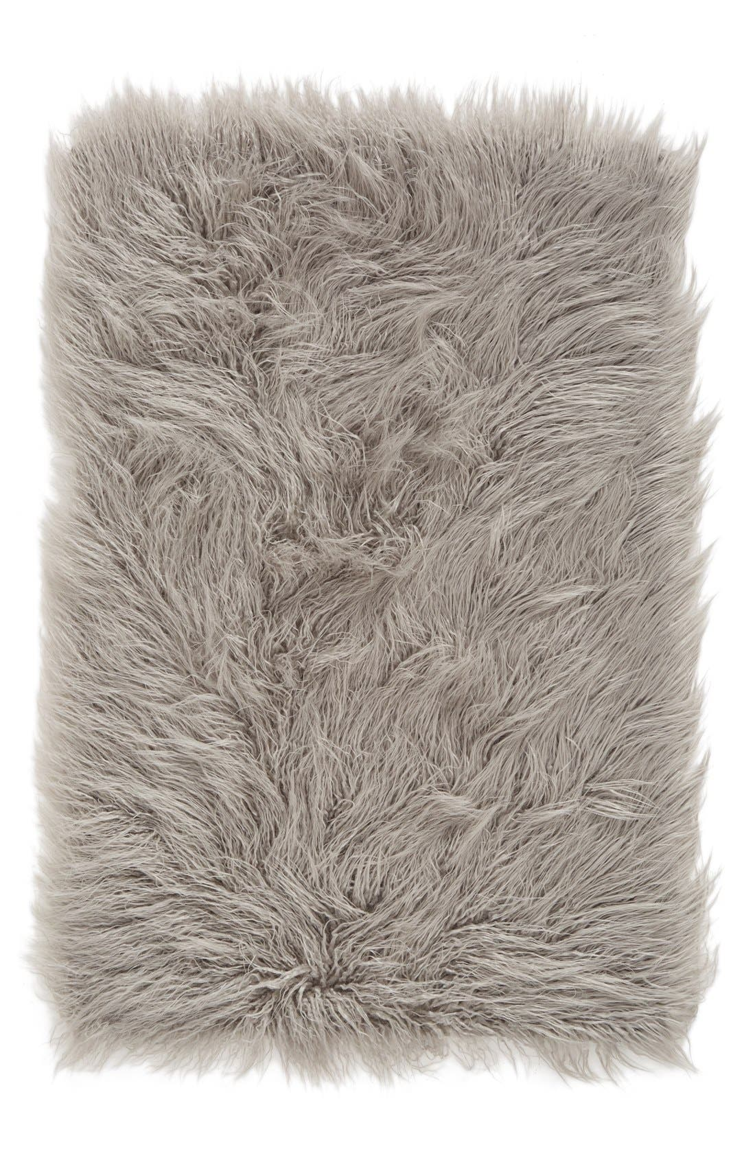 'Mongolian' Faux Fur Area Rug,                             Main thumbnail 1, color,                             Grey Opal