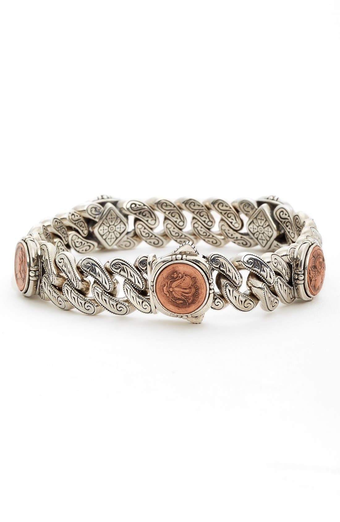 'Aeolus' Coin Link Bracelet,                             Main thumbnail 1, color,                             Silver/ Gold