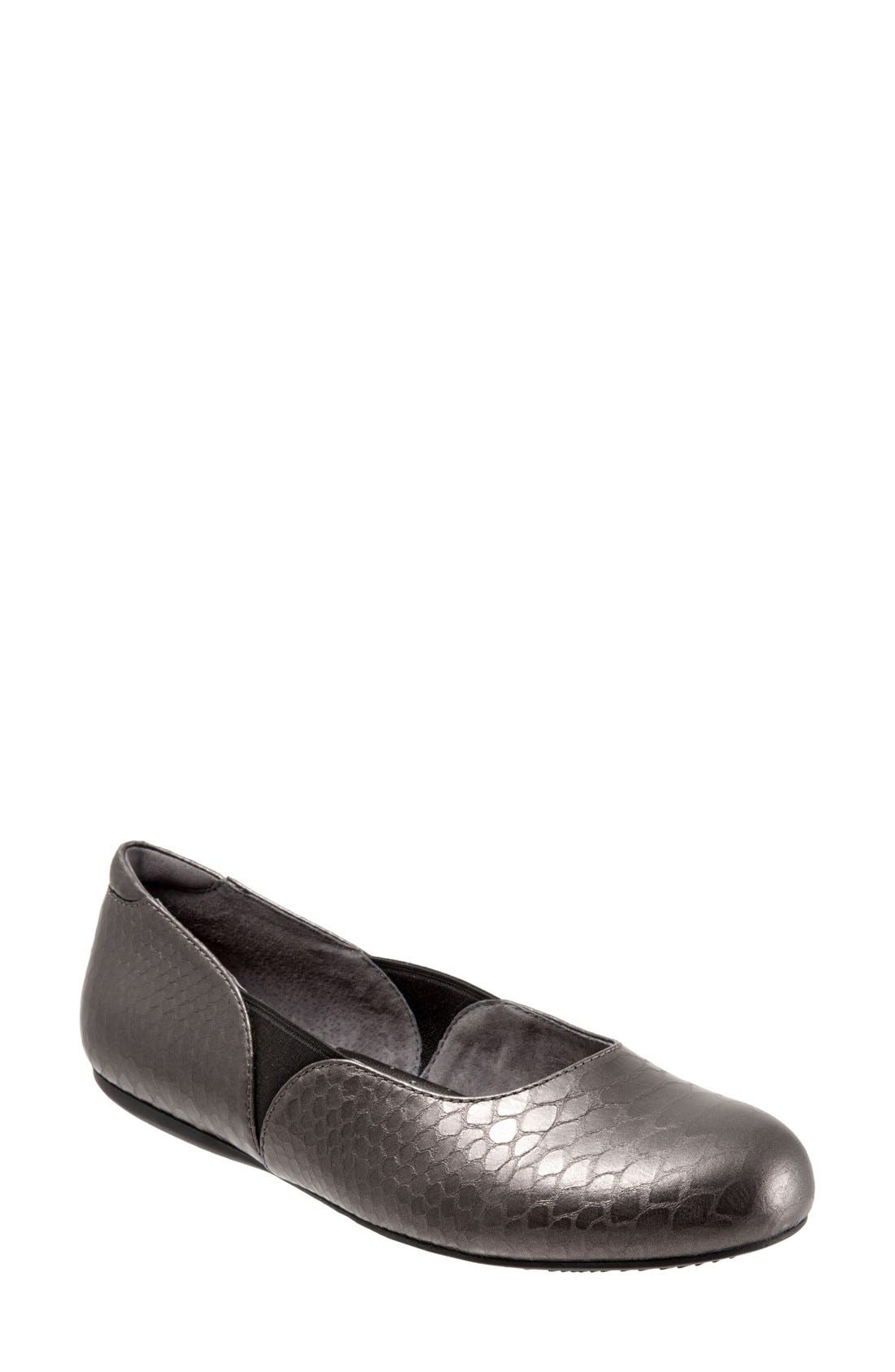'Norwich' Flat,                         Main,                         color, Pewter Snake Leather