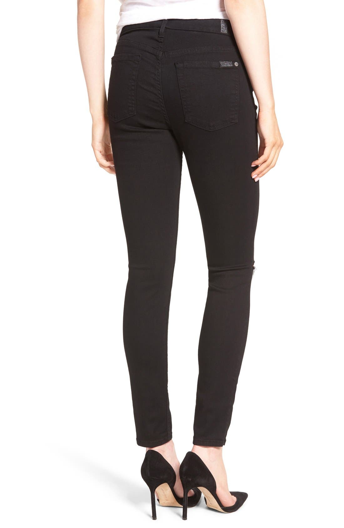 'b(air)' Ankle Skinny Jeans,                             Alternate thumbnail 2, color,                             Black