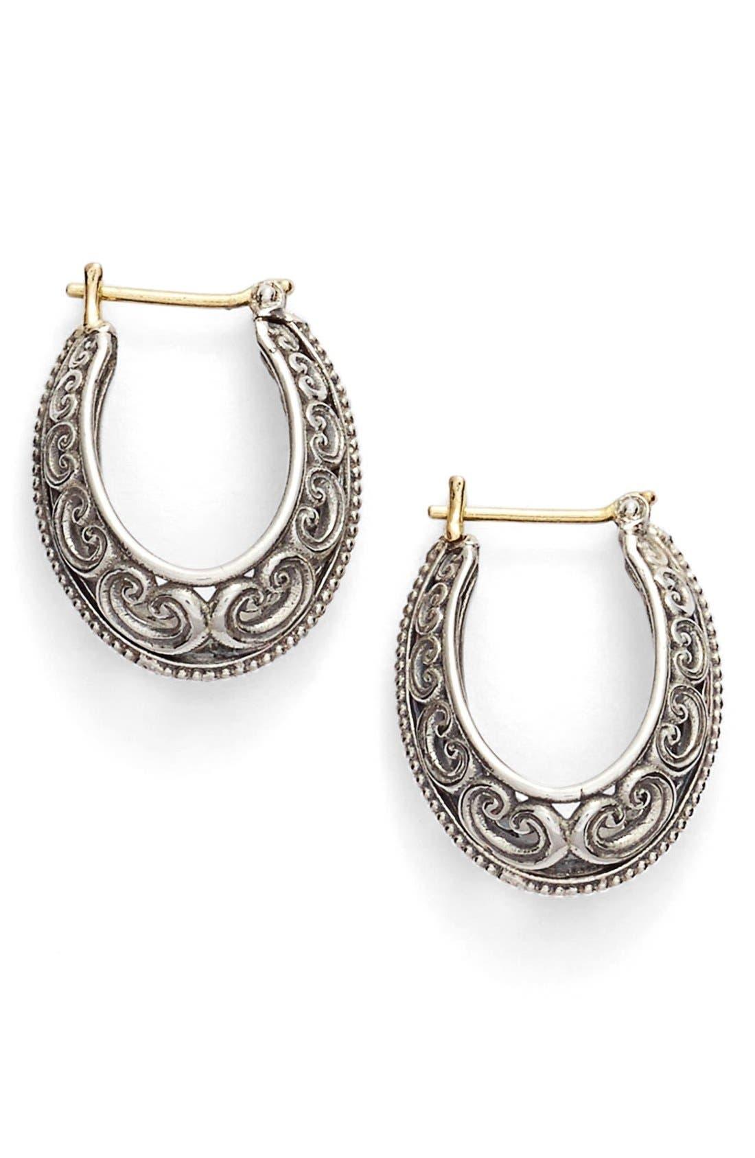 'Penelope' Filigree Hoop Earrings,                         Main,                         color, Silver