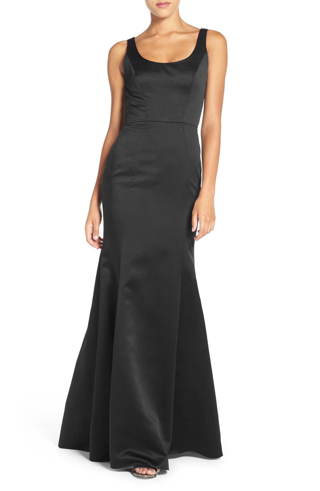 Back Cutout Scoop Neck Satin Trumpet Gown,                             Main thumbnail 1, color,                             Black