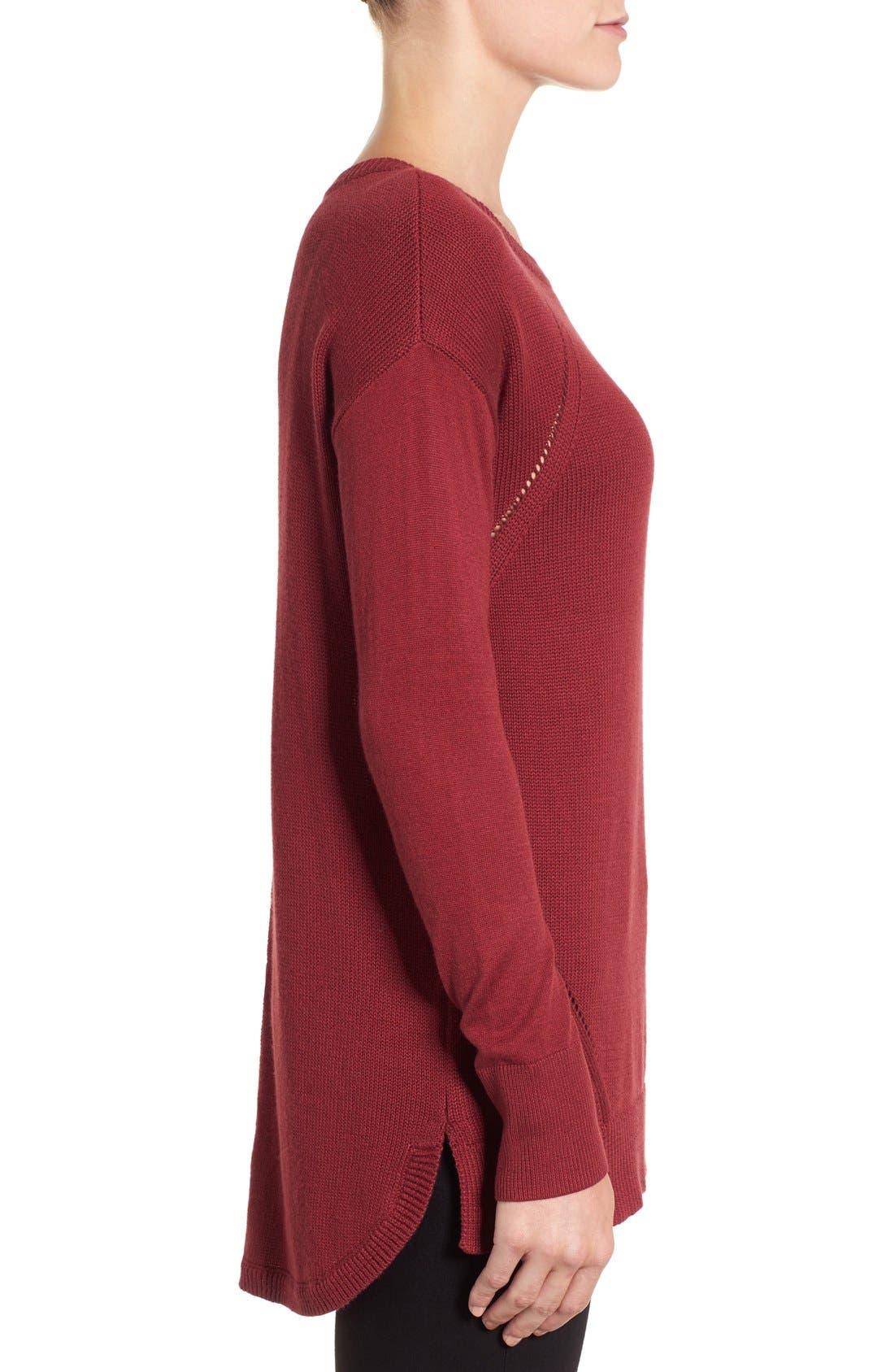 Alternate Image 3  - Caslon® Button Back Tunic Sweater (Regular & Petite)