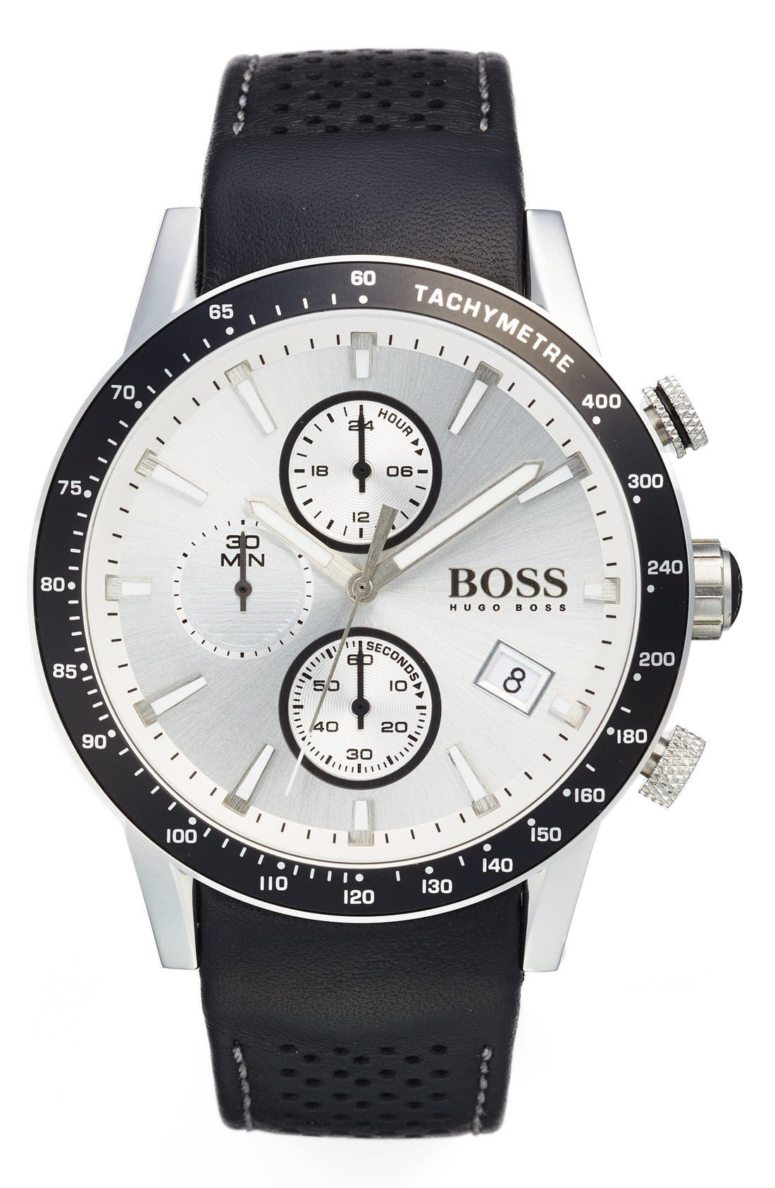 BOSS 'Rafale' Chronograph Leather Strap Watch, 44mm,                             Main thumbnail 1, color,                             White/ Black