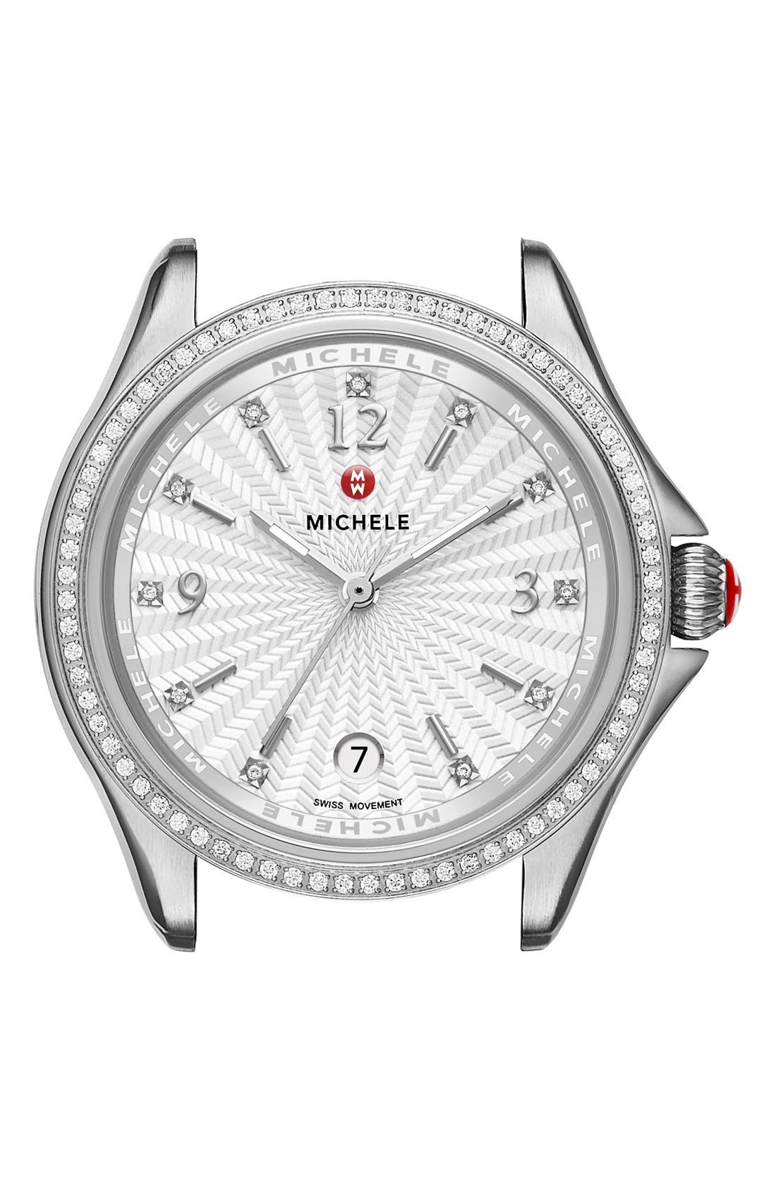 Belmore Watch Case, 34mm,                         Main,                         color, Silver/ White