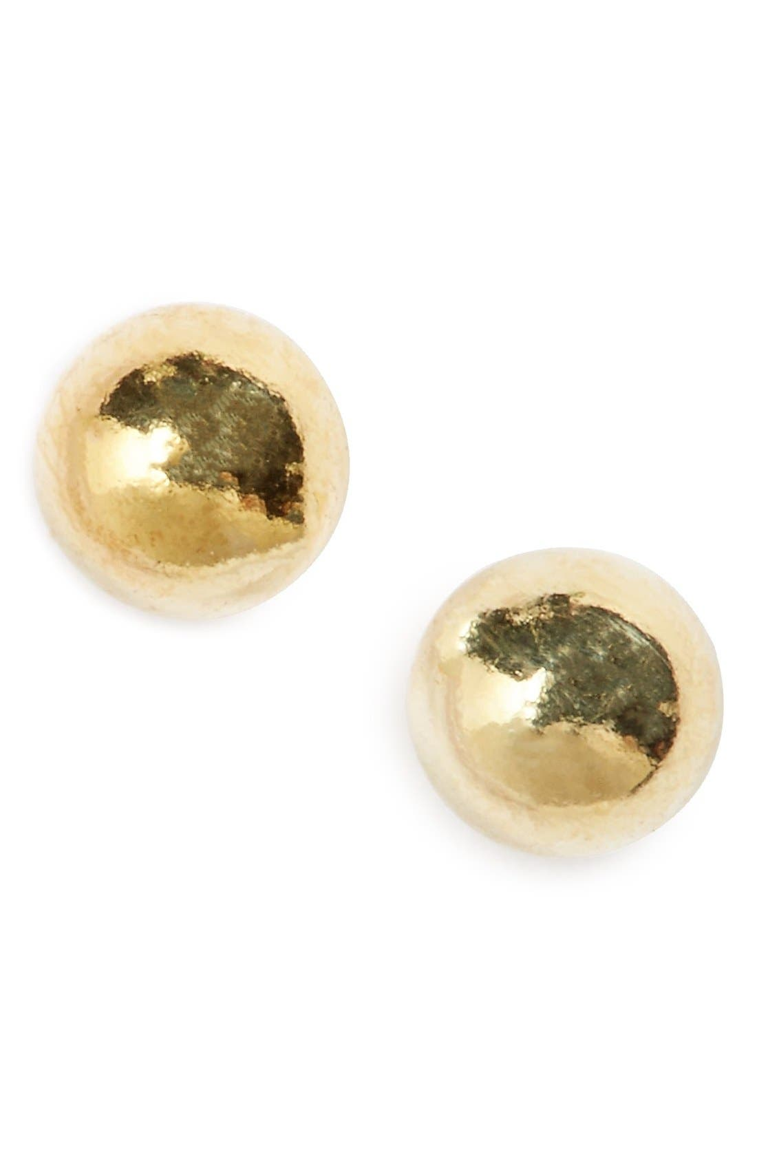 Sterling Silver Ball Stud Earrings,                             Main thumbnail 1, color,                             Gold