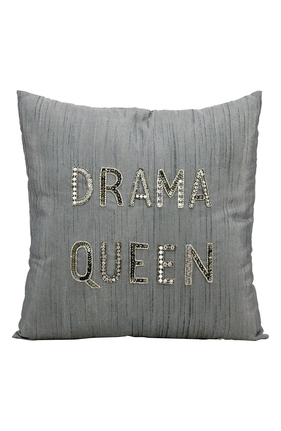 'Drama Queen' Pillow,                         Main,                         color, Silver/ Grey