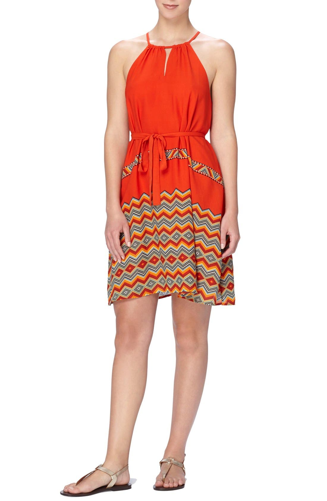 CATHERINE CATHERINE MALANDRINO Border Print Belted A-Line Dress