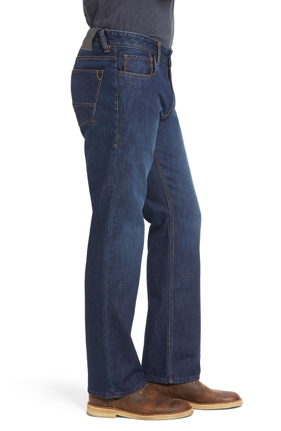 'Santorini' Relaxed Fit Jeans,                             Alternate thumbnail 3, color,                             Dark Indigo Wash