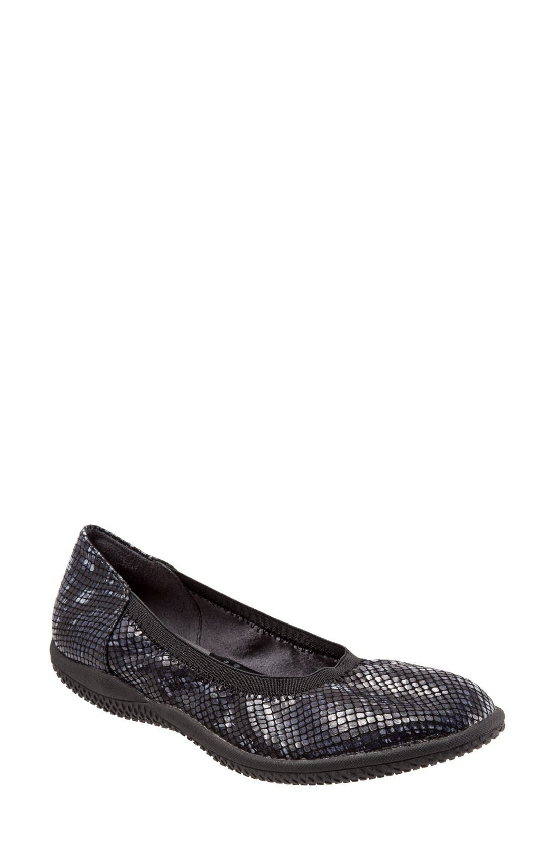 'Hampshire' Dot Perforated Ballet Flat,                             Main thumbnail 1, color,                             Black Python Print Leather