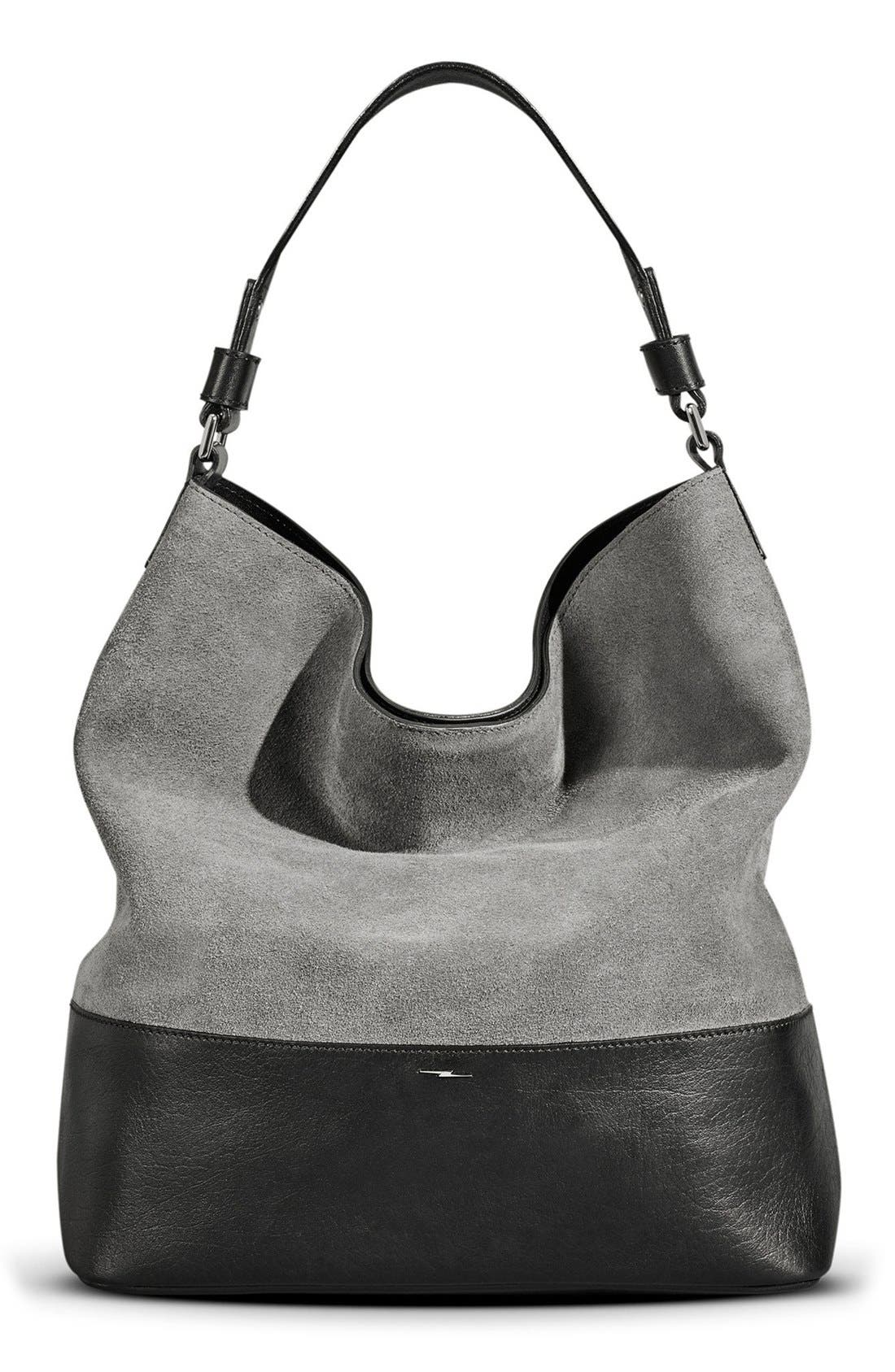 Shinola Relaxed Leather & Suede Hobo Bag